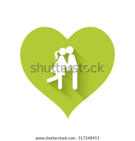 Bright green heart shape icons of love relationships - stock vector