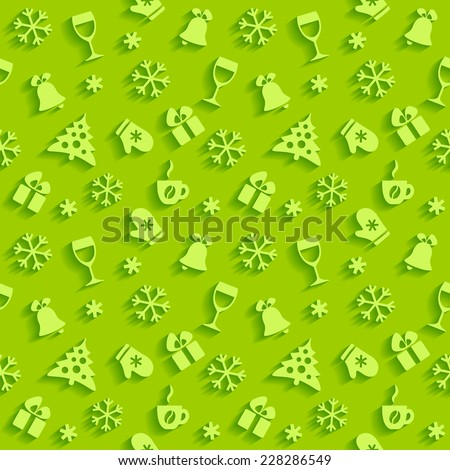 Bright green seamless holiday background with white flat Christmas symbols - stock vector