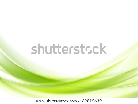 Bright green vector waves abstract background - stock vector