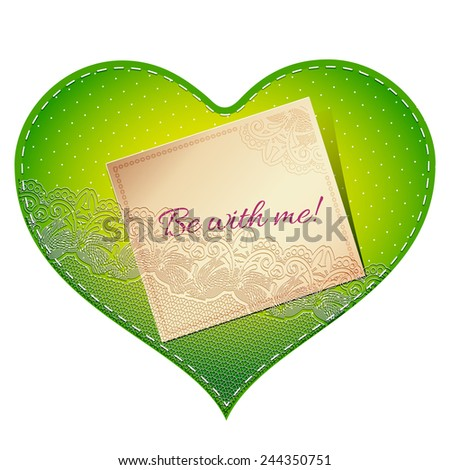 Bright green vintage lace card in the shape of satin heart with love note - stock vector