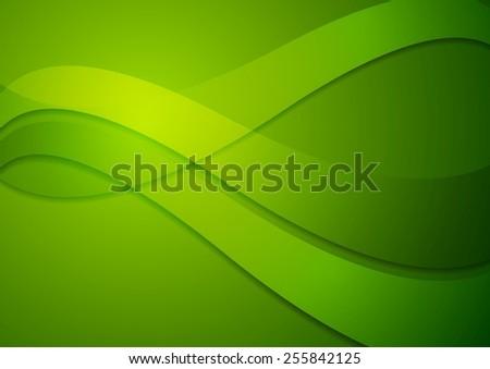 Bright green wavy background. Vector design - stock vector