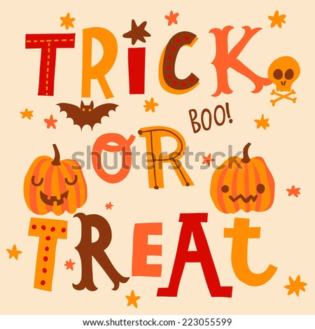 Bright Halloween card in vector. Cute trick or treat background in cartoon style - stock vector