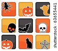 bright halloween icons with motifs, with clipping masks - stock vector
