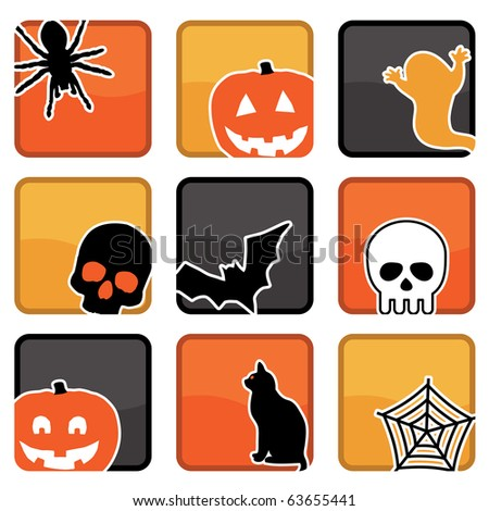 bright halloween icons with motifs, with clipping masks