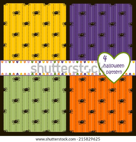 Bright Halloween seamless pattern with cartoon spiders. vector - stock vector