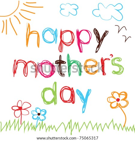 Bright hand drawn card for Mother's Day - stock vector