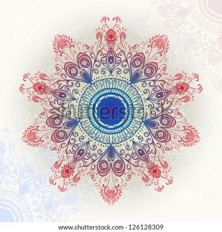 Bright hand drawn circular floral ornament. Eps10 - stock vector
