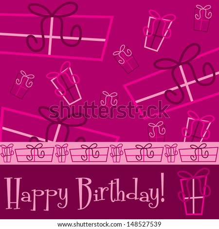 "Bright ""Happy Birthday"" present card in vector format. - stock vector"