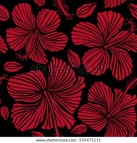 Bright Hawaiian Seamless Pattern With Tropical Hibiscus Flowers On Black Background In Red Colors