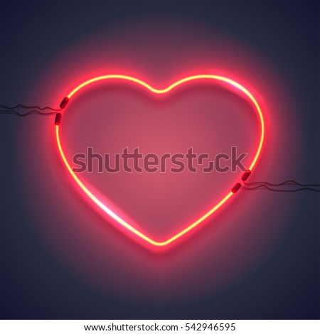 Bright heart. Neon sign. Retro neon heart sign on purple background. Design element for Happy Valentine's Day. Ready for your design, greeting card, banner. Vector illustration.