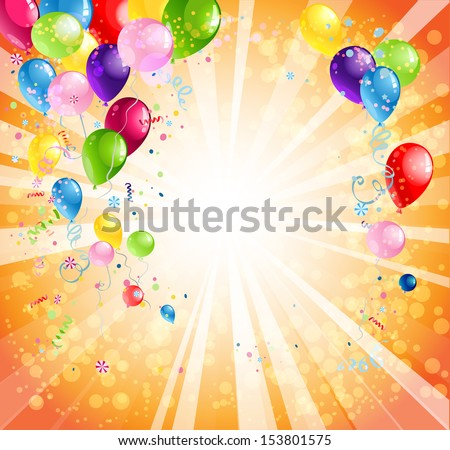 Bright holiday background with balloons with space for text - stock vector