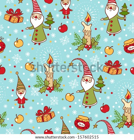 Bright holiday pattern with Santa Claus, gift, candle on blue background. Christmas and New Year background.