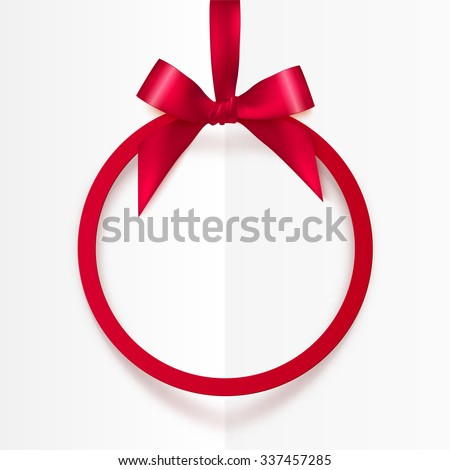 Bright holiday red round frame with bow and silky ribbon - stock vector