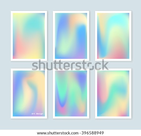 Bright holographic backgrounds set for a different design. You can use a gift card, cover, book, printing, fashion. Modern style trends 80. surreal hipster images. - stock vector