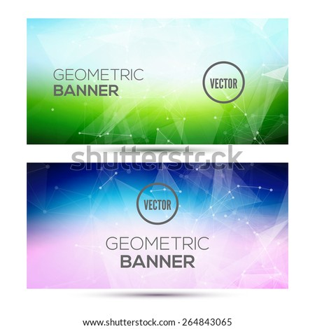 Bright horizontal abstract geometric, low poly, polygonal banners template design.  - stock vector