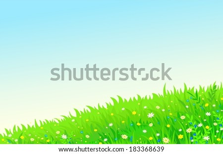 bright horizontal background summer meadow - stock vector
