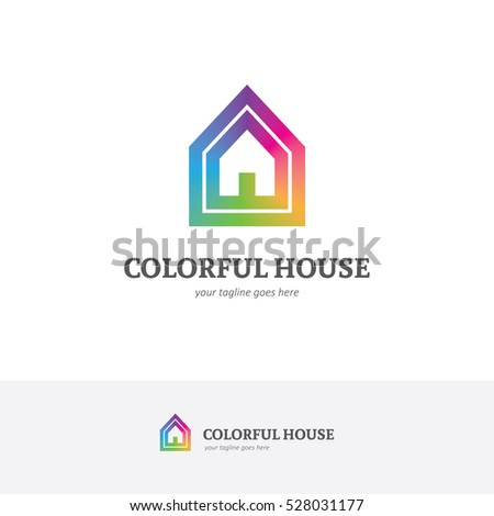Bright House Logo Rainbow Colors Can Stock Vector Royalty Free