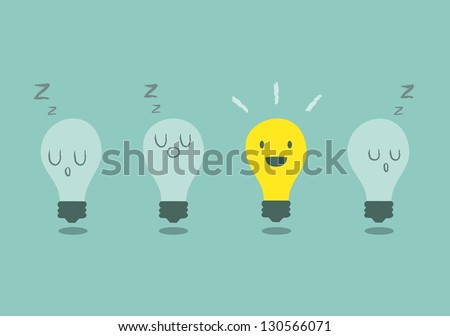 bright idea concept with light bulb - stock vector