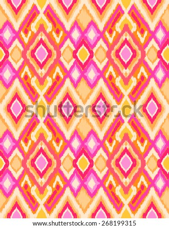 Bright Ikat design ~ seamless background - stock vector