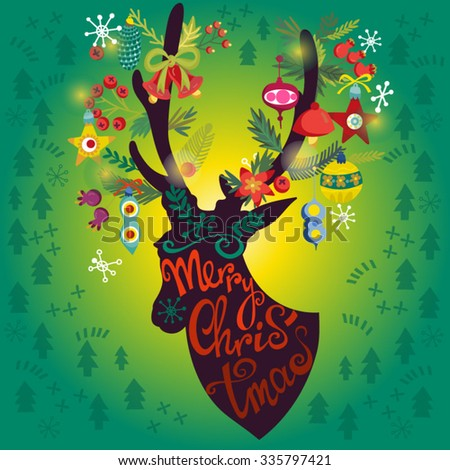 """Bright Illustration of deer and hand drawn letters """"Merry Christmas"""".  - stock vector"""