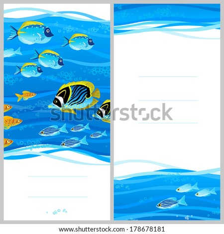 Bright invitation cards with sea elements. Marine life vector background. Sea pattern with fish and waves. Place for your text.  Template frame design for card. - stock vector