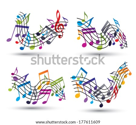 Bright jolly vector staves with musical notes on white background, decorative major wavy set of musical notation symbol.