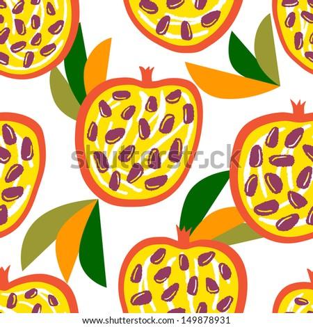 Bright juicy pomegranates. Vector seamless pattern - stock vector