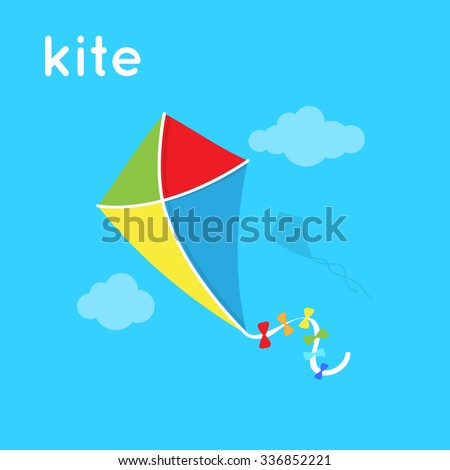 Bright kite in the sky. Cartoon simple illustration. Vector toy and word.  - stock vector