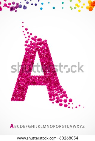 Bright letter A from the alphabet with bubble effect (eps10) - stock vector