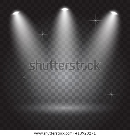 Bright lighting with spotlights, transparent effects on dark  background - stock vector
