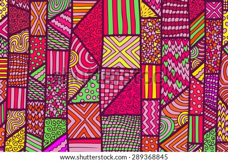 Bright lines background with a lot of zentangle elements. Vector illustration can be used for backgrounds, web design, surface textures, textile desigh and other crafts.
