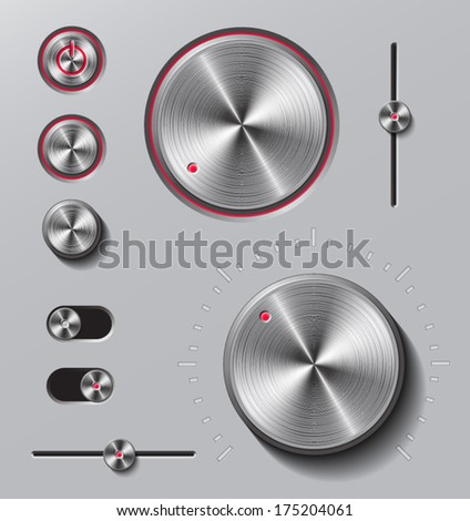 Bright metal buttons and dials with red led light set.  - stock vector