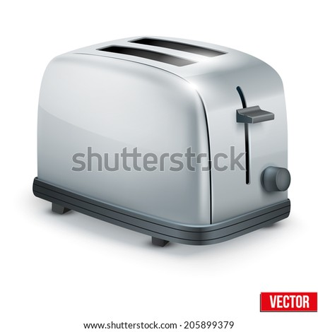 Bright Metal Glossy Toaster. Vector illustration isolated on white. - stock vector
