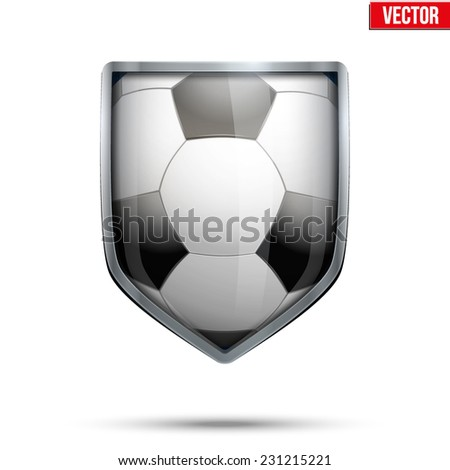 Bright metallic shield in the football ball inside. Editable Vector Illustration isolated on white background. - stock vector
