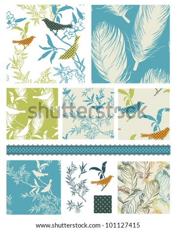 Bright Modern seamless bird vector patterns and icons.  Great for textile projects or as digital paper or wallpaper. - stock vector