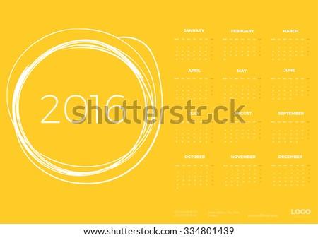 Bright Modern Yellow Sunny Calendar for 2016. Week Starts Monday.  Vector design Template - stock vector