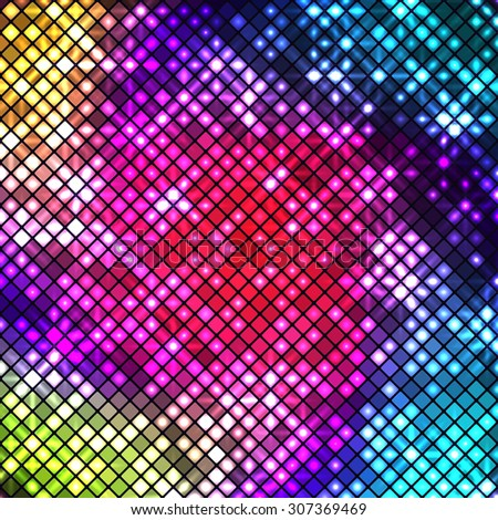 Bright multicolored disco mosaic of shiny squares with rounded corners - stock vector