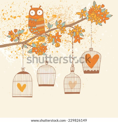 Bright natural card in vector. Freedom concept background. Romantic wallpaper with owl, branch and cages with hearts inside