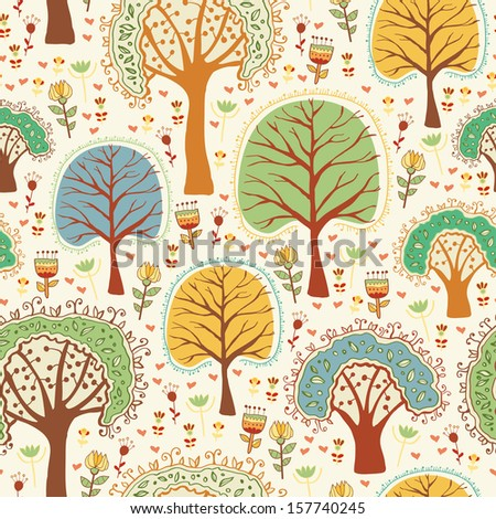 Bright nature seamless pattern in cartoon style. Trees and flowers - romantic spring background in vector