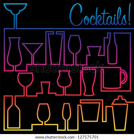 Bright neon cocktail card in vector format. - stock vector
