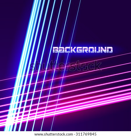 Bright neon lines background with 80s style and chrome letters - stock vector