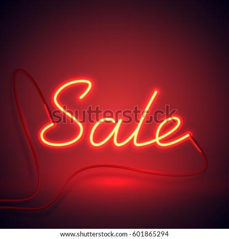 Bright Neon Sale Sign Retro Neon Stock-Vektorgrafik 601865294 ...