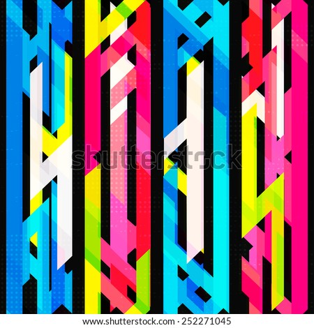 bright neon seamless pattern with grunge effect - stock vector