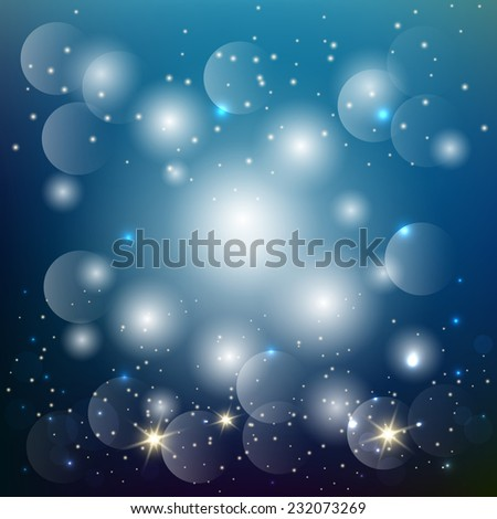 bright night background with stars and lights. vector illustration - stock vector