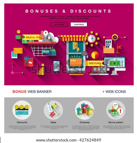 Bright one page web design template with online shopping discount and price bonus system, big sales offer from various store icons. Flat design graphic concept website elements layout