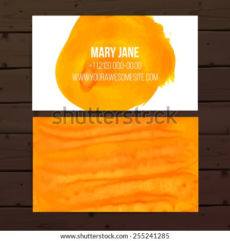 Bright orange artistic business card vector layout with paint strokes - stock vector