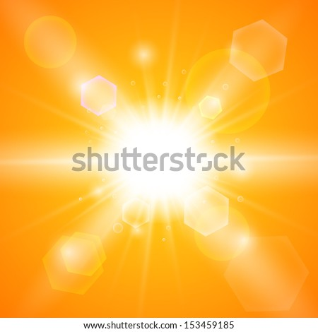 Bright orange background with a summer sun burst with lens flare. Vector illustration. Stock Vector