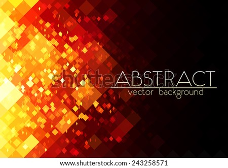 Bright orange fire grid vector abstract horizontal background - stock vector