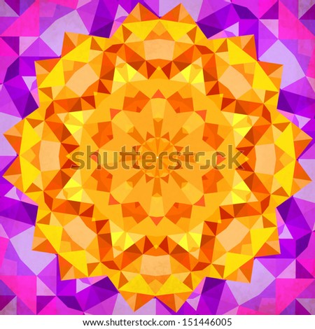 Bright orange geometric vector mandala - stock vector