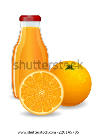 Bright orange juice on white background. Vector illustration - stock vector
